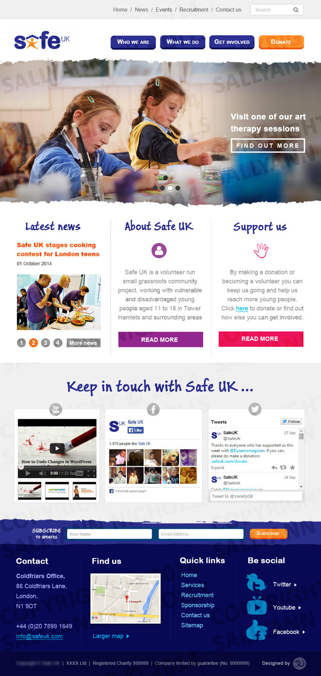Web design draft for Safe UK, a children's charity