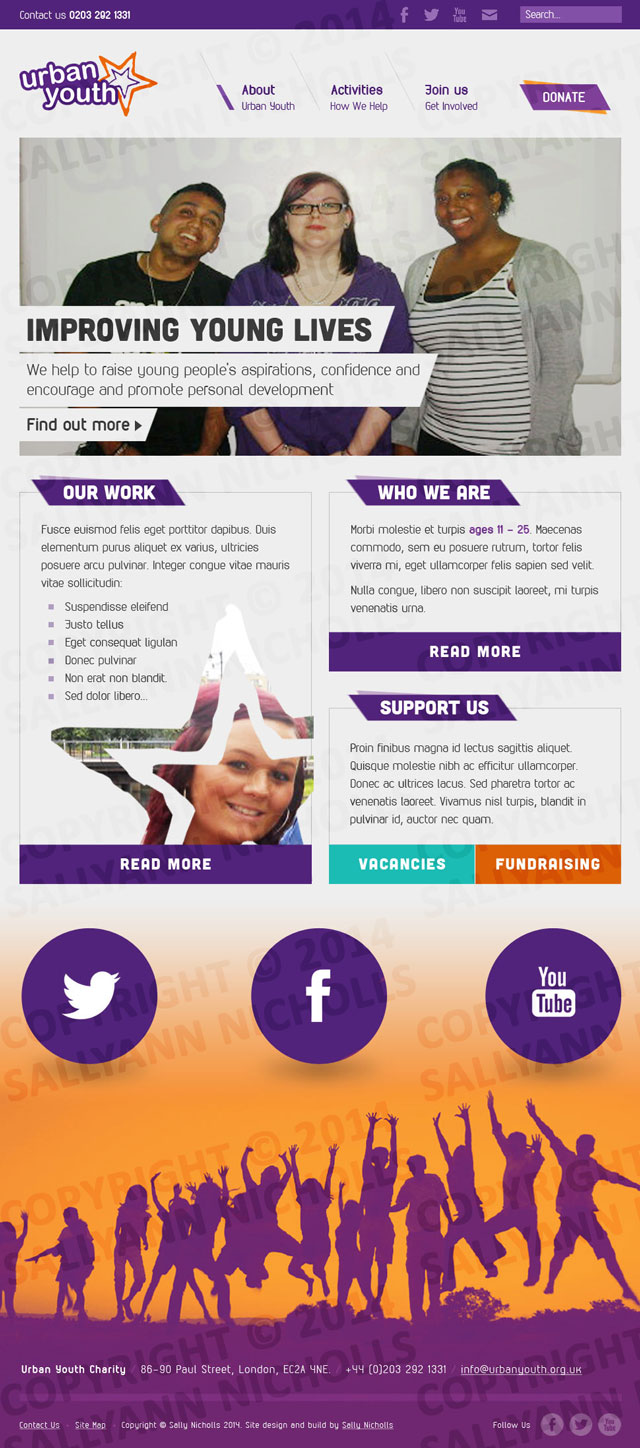 Web design for Urban Youth, a children's charity.